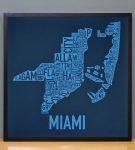 Miami Biscayne Bay Blue Print in Black Frame