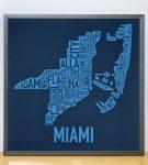 Miami Biscayne Bay Blue Print in Grey Frame