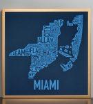Miami Biscayne Bay Blue Print in Bronze Frame