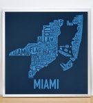 Miami Biscayne Bay Blue Print in Silver Frame