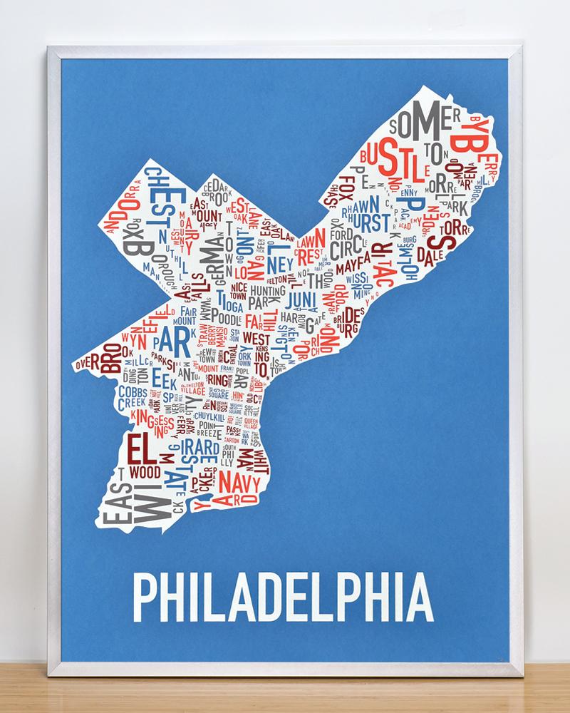 Philadelphia Neighborhood Map 18 Quot X 24 Quot Multi Color