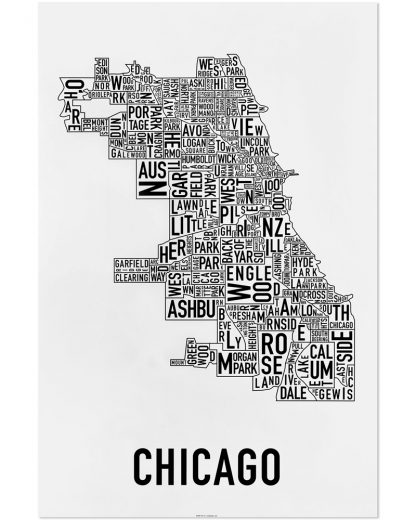 "Chicago Neighborhood Map Poster, Classic B&W, 24"" x 36"""
