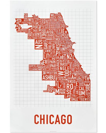 """Chicago Neighborhood Map Poster, Spicy Red, 24"""" x 36"""""""