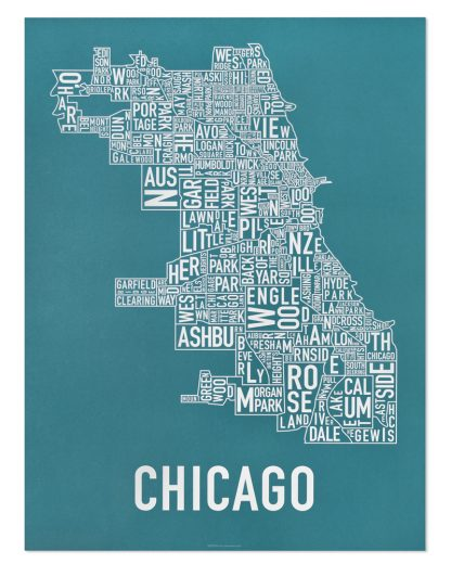 """Chicago Neighborhood Map Poster, Teal & White, 18"""" x 24"""""""