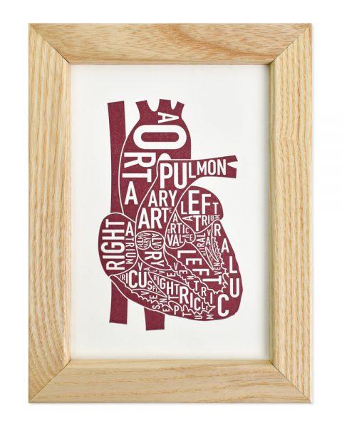 Heart Mini Letterpress Anatomy Art in Light Wood Frame