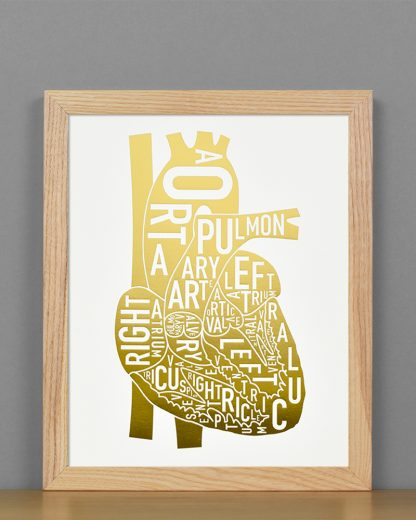 Heart Anatomy Diagram, Gold Foil, in Light Wood Frame