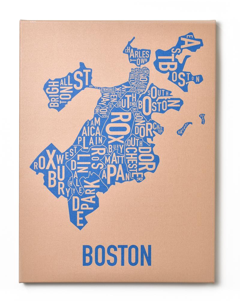 Boston Neighborhood Map X Ready To Hang Canvas - Boston neighborhood map