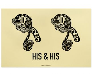 gay couple male sexual anatomy print in grey