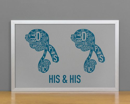 His & His Anatomy Diagram, Grey/Teal, in Silver Frame