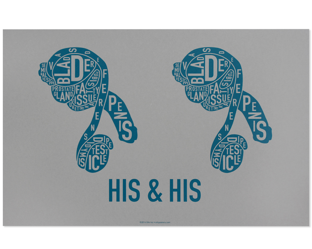 Reproductive Anatomy Typographic Print In Grey Two Males