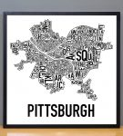 Pittsburgh Classic B&W Poster in Black Frame