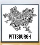 PIttsburgh Classic B&W Poster in Grey Frame