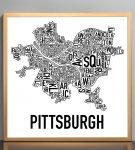 Pittsburgh Classic B&W Poster in Bronze Frame