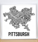 Pittsburgh Classic B&W Poster in Silver Frame