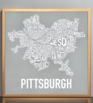 "Pittsburgh 18"" x 18"" Allegheny Grey Print in Bronze Frame"
