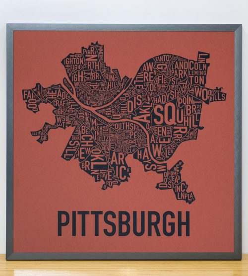 Pittsburgh Typographic Map Silkscreen, Rust Red and Navy in Grey Frame