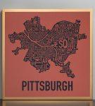 "Pittsburgh 18"" x 18"" Whiskey Rebellion Print in Bronze Frame"