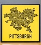 "Pittsburgh 18"" x 18"" Steelers Print in Black Frame"