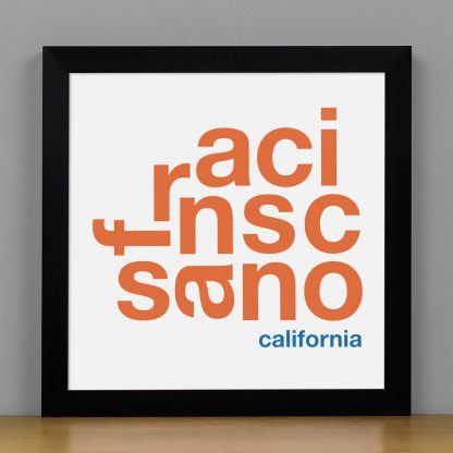"Framed San Francisco Fun With Type Mini Print, 8"" x 8"", White & Orange in Black Frame"