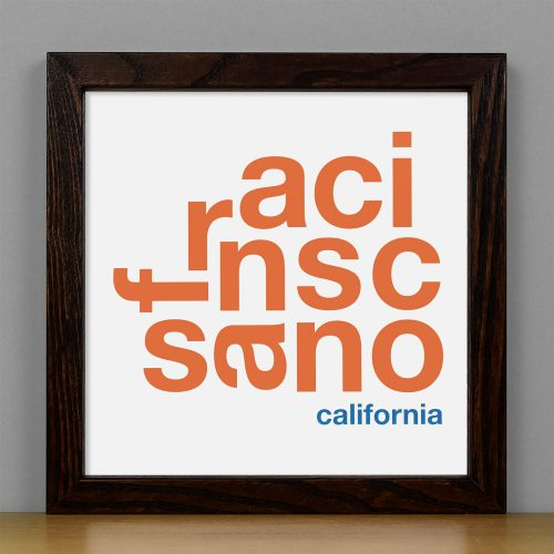 "Framed San Francisco Fun With Type Mini Print, 8"" x 8"", White & Orange in Dark Wood Frame"