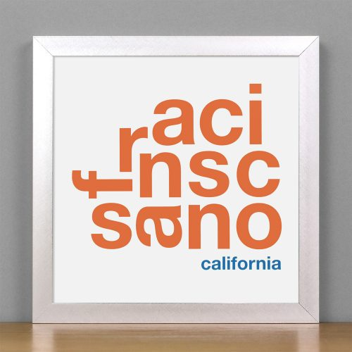 "Framed San Francisco Fun With Type Mini Print, 8"" x 8"", White & Orange in Silver Frame"