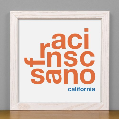 "Framed San Francisco Fun With Type Mini Print, 8"" x 8"", White & Orange in White Wood Frame"