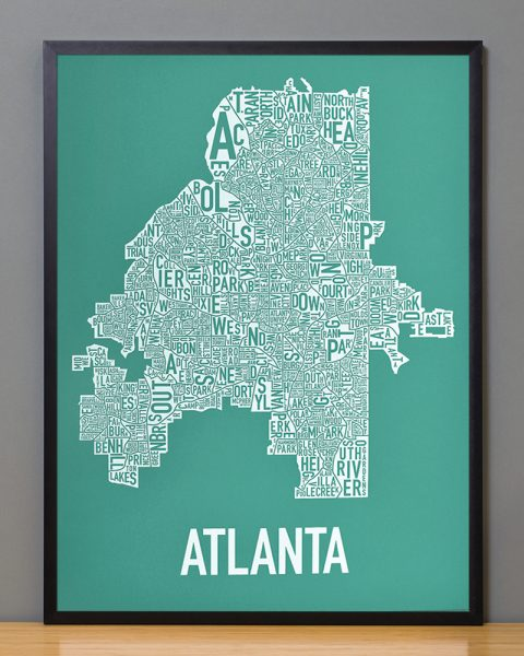Framed Atlanta Neighborhood Map Screen Print Picture in Emerald and White in Black Frame