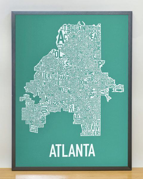 Atlanta Type Neighborhood map decor, teal print in grey frame