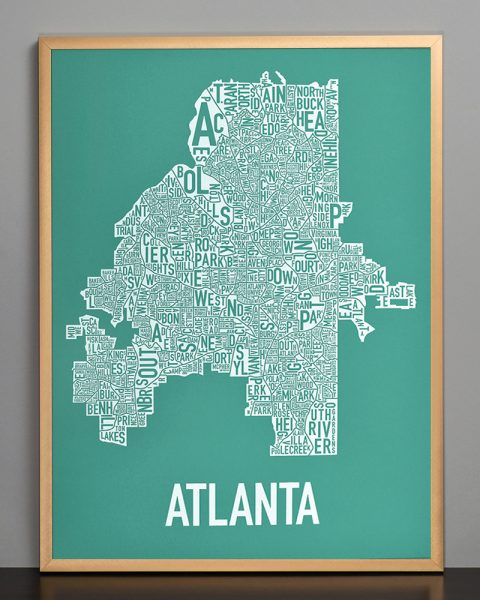 Atlanta Type Neighborhood map wall art, teal print in bronze frame
