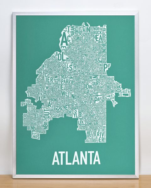 Atlanta Type Neighborhood map Artwork, teal print in silver frame