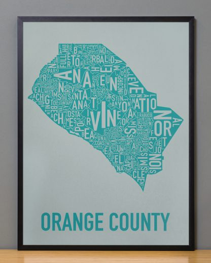 Orange County typographic art Grey Print in Black Frame