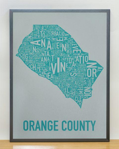 Orange County wall art type map Grey Print in Black Frame
