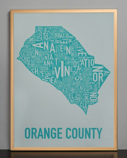 Orange County california map Grey Print in Bronze Frame