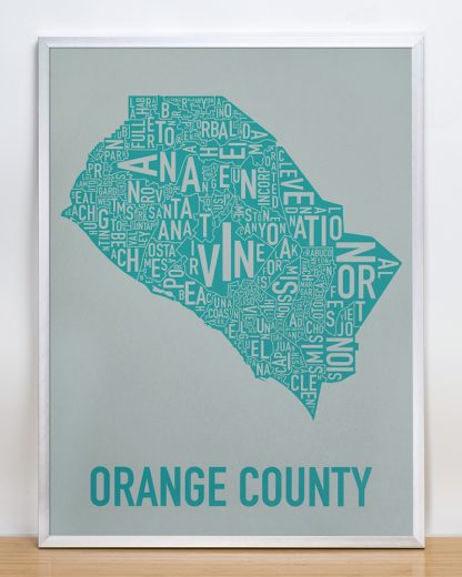 Orange County california poster Grey Print in Silver Frame