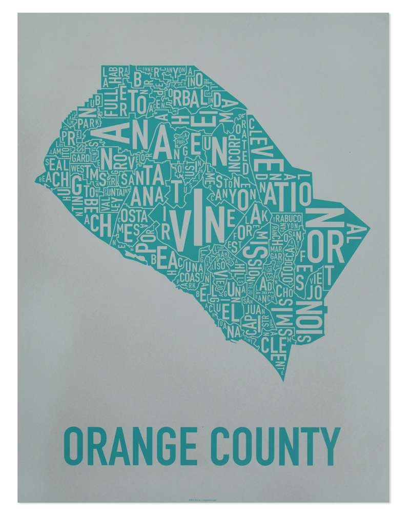 photograph about Printable Map of Orange County Ca named Orange County Typographic Map 18\