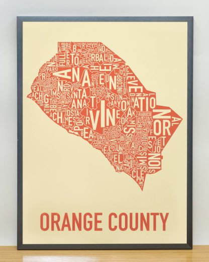 Orange County Map Artwork tan and Orange Screen Print