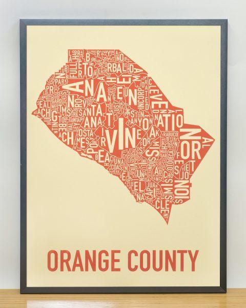 Orange County Map Artwork tan and Orange Screen Print