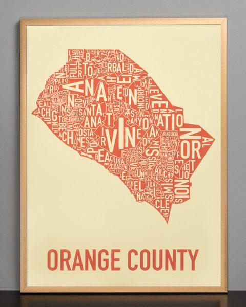 Orange County Tan Wall Art Map in Bronze Frame