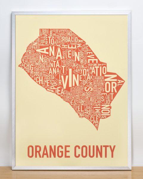 Orange County California Typographic Map in Tan and Orange