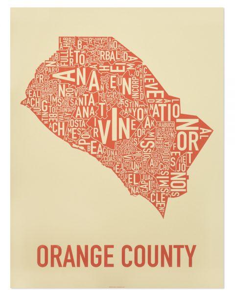 orange county california art tan print