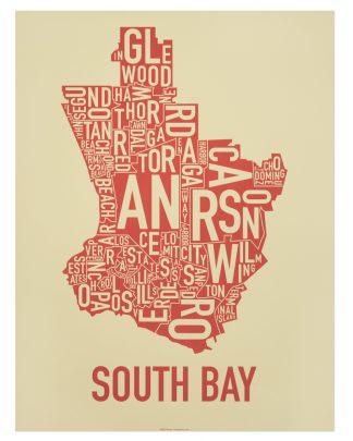 South Bay los angeles wall art Tan and Orange-Red Print