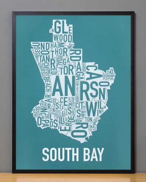 South Bay los angeles area modern map Teal Print in Black Frame
