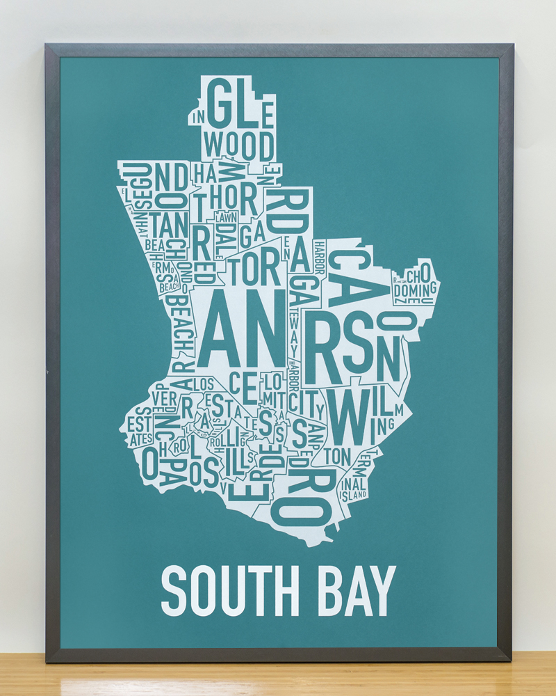 South Bay LA Area Map 18 x 24 Teal White Screenprint