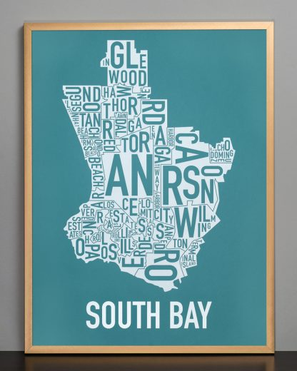 South Bay silkscreen Teal Print in Bronze Frame