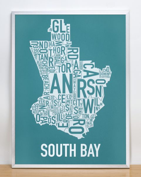 South Bay artwork Teal Print in Silver Frame