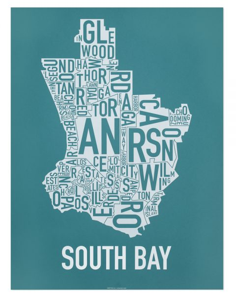 South Bay city map poster blue White Print