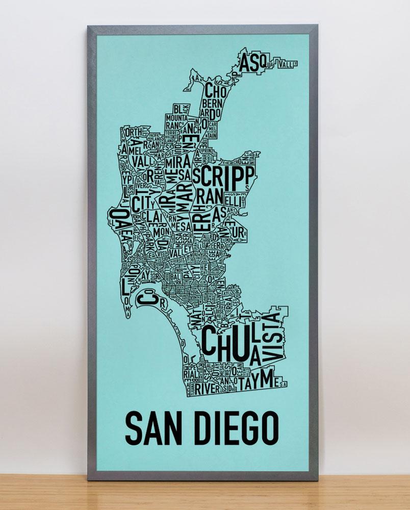 San diego neighborhood map 13 x 26 balboa blue screenprint for T shirt screen printing san diego