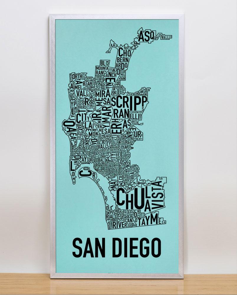san diego neighborhood map 13quot x 26quot balboa blue screenprint