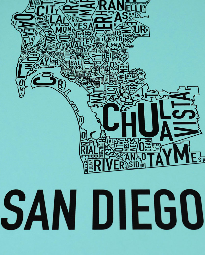 San Diego Map Of Neighborhoods.San Diego Neighborhood Map 13 X 26 Balboa Blue Screenprint