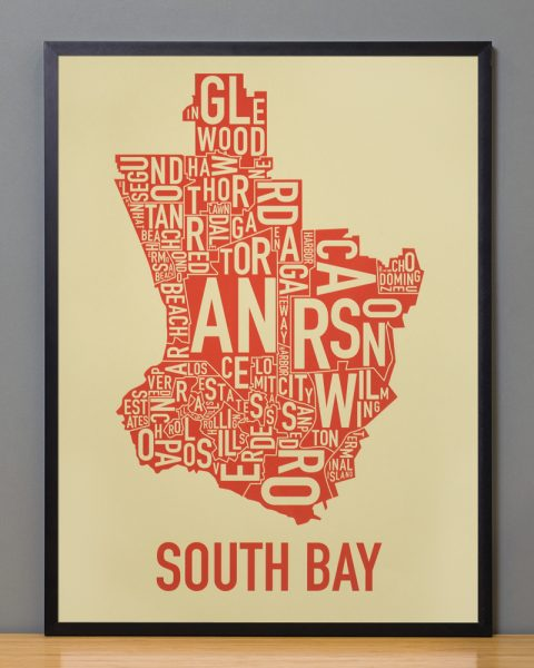 South Bay california typographic map Tan Print in Black Frame